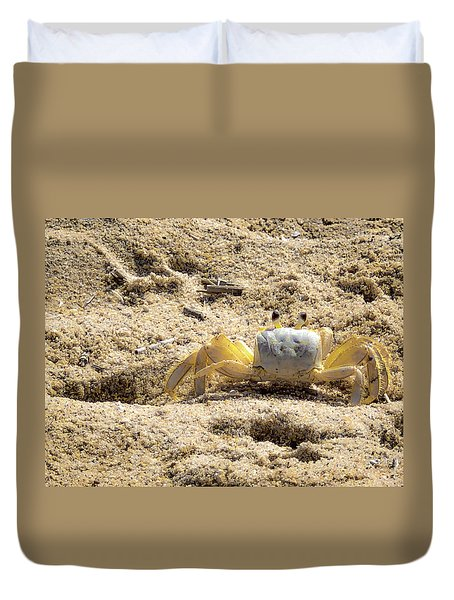 Duvet Cover featuring the photograph Carl The Crab by Lora J Wilson