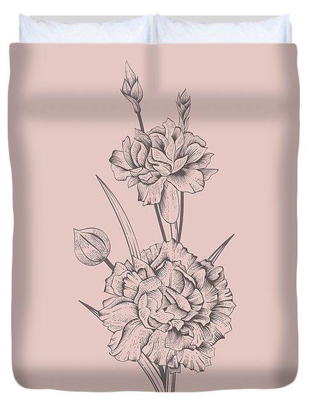 Carnation Blush Pink Flower Duvet Cover