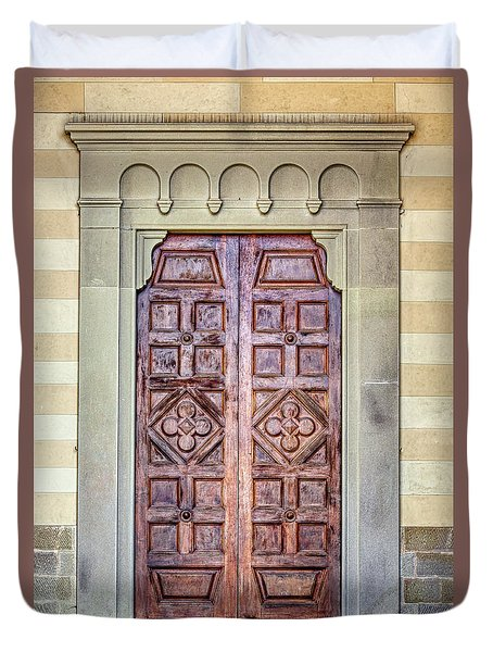 Carved Door Of Cortona Duvet Cover