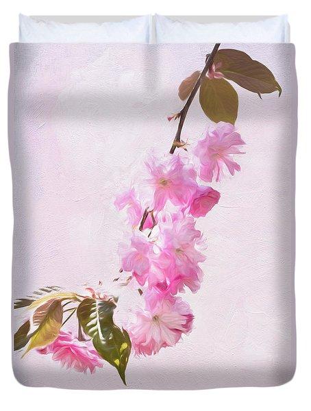 Cascading Kwanzan Cherry Blossoms Duvet Cover