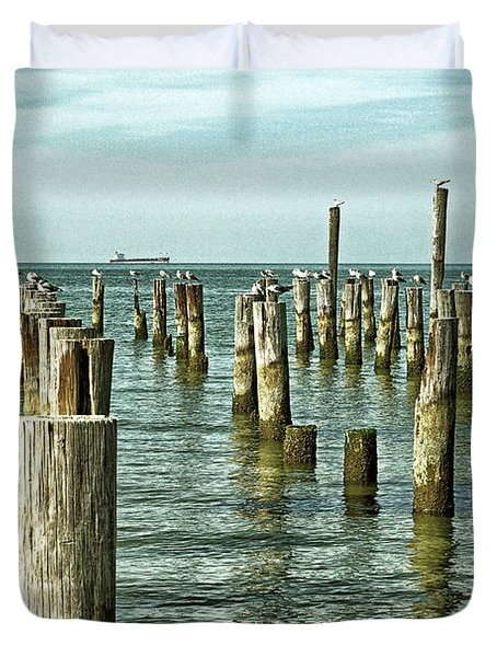 Duvet Cover featuring the photograph Casino Pilings At Cape Charles Virginia by Bill Swartwout Fine Art Photography