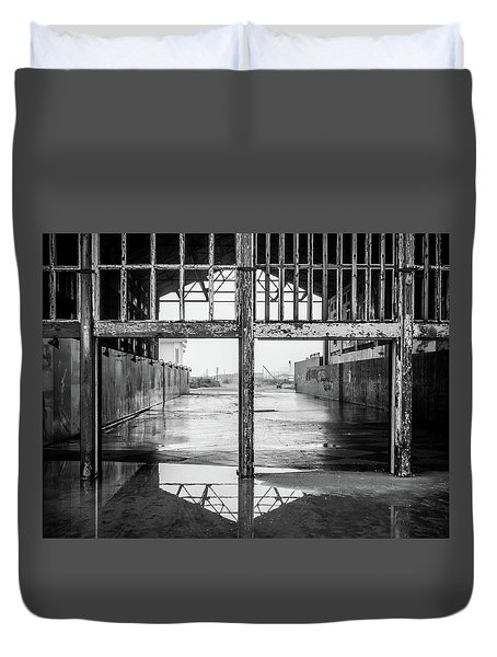 Duvet Cover featuring the photograph Casino Reflection by Steve Stanger