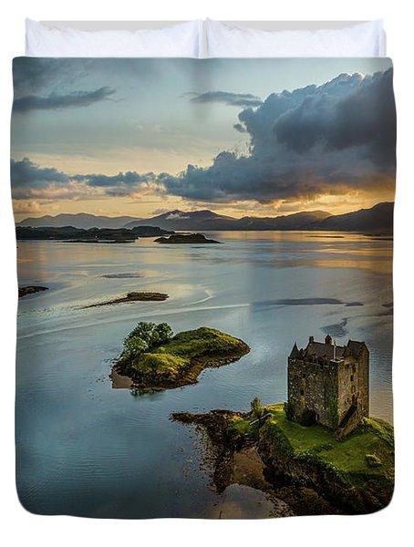 Castle Stalker Sunset Duvet Cover