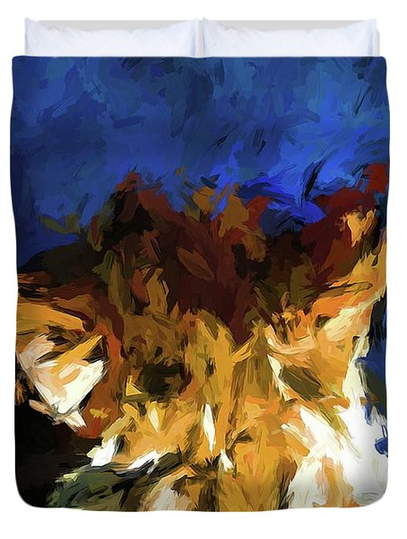 Cat And The Cobalt Blue Wall Duvet Cover