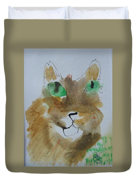 Cat Face Yellow Brown With Green Eyes Duvet Cover