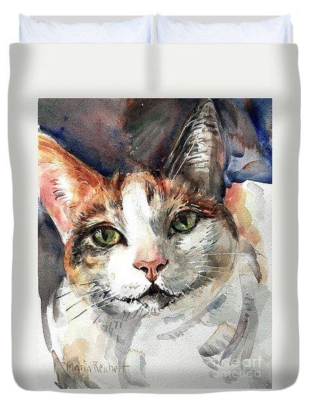 Cat In Watercolor Duvet Cover