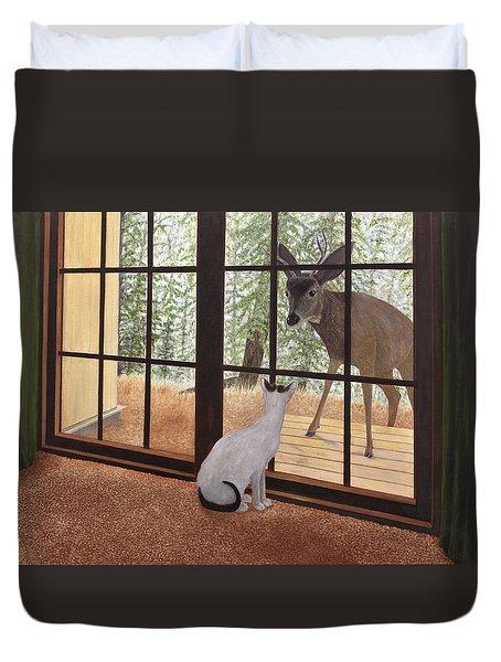 Cat Meets Deer Duvet Cover