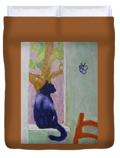 cat named Seamus Duvet Cover