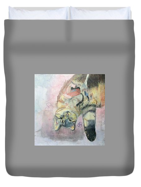 Playful Cat Named Simba Duvet Cover