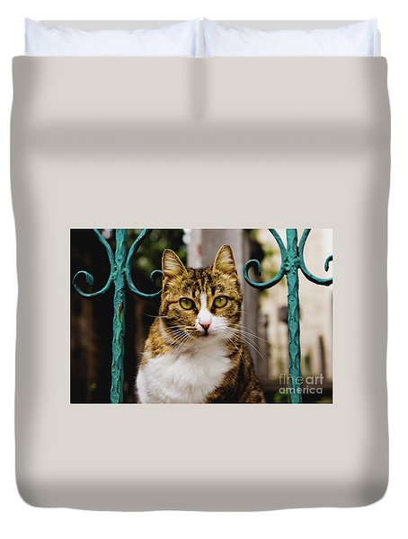 Cat On A Fence Duvet Cover