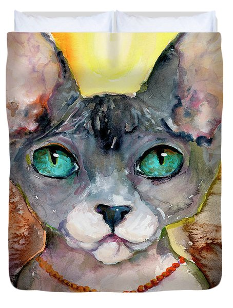 Cat Portrait My Name Is Adorable Duvet Cover
