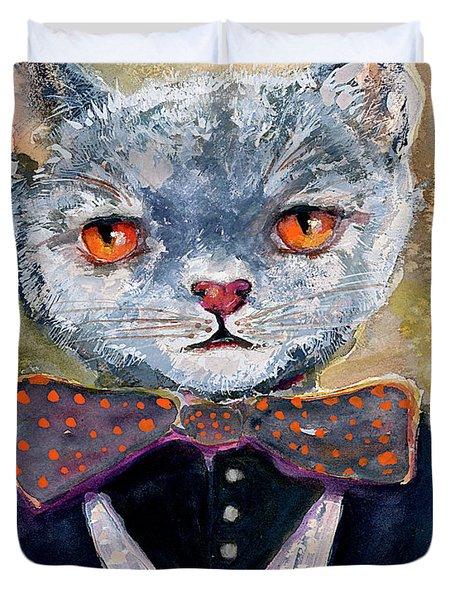 Cat Portrait Einstein Duvet Cover