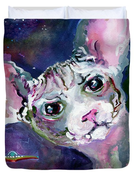 Cat Portrait My Name Is Luna Duvet Cover