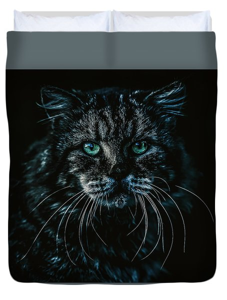 Duvet Cover featuring the photograph Cat by Rob D