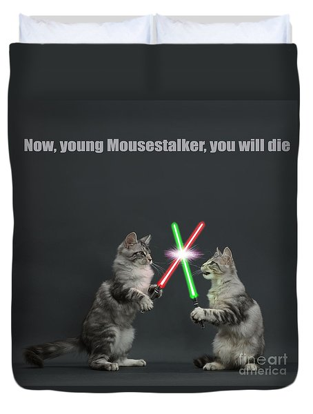 Duvet Cover featuring the photograph Cat Wars by Warren Photographic