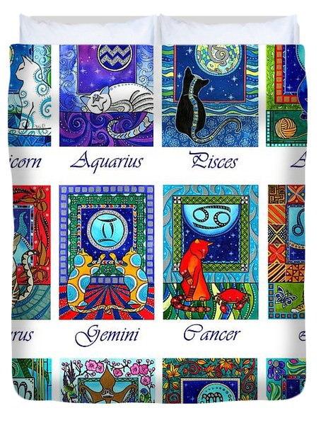 Cat Zodiac Astrological Signs Duvet Cover