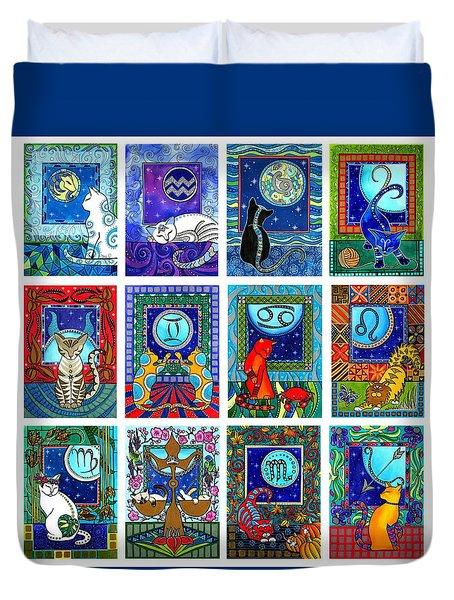 Cat Zodiac Paintings  Duvet Cover