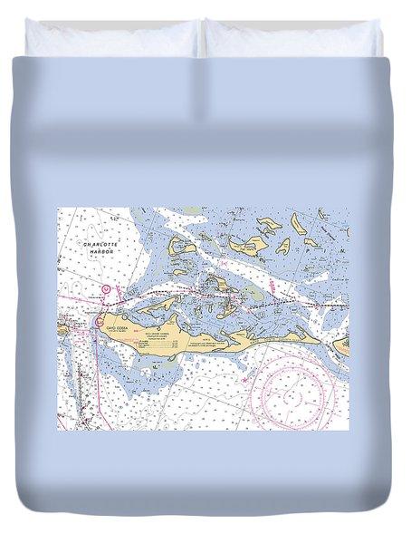 Cayo Costa Nautical Chart Duvet Cover