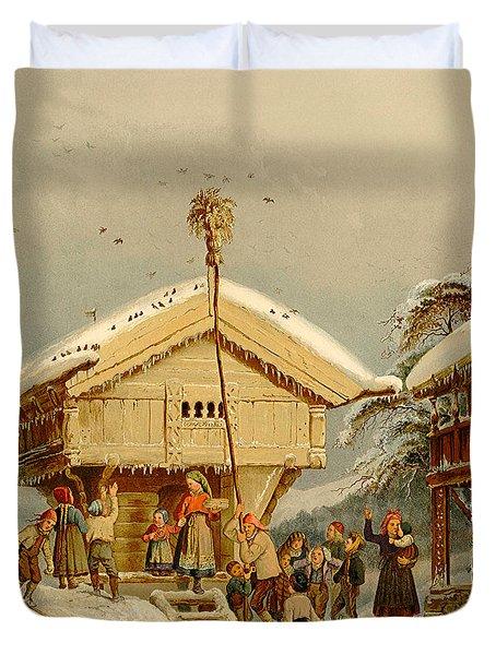 Celebrating Yuletide, By Adolph Tidemand Duvet Cover