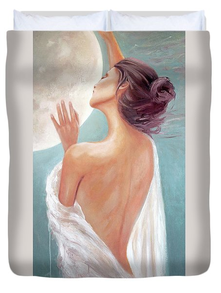 Celestial Moon Goddess Duvet Cover