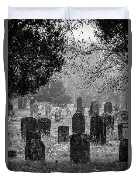 Duvet Cover featuring the photograph Cemetery In The Pines Bw by Kristia Adams