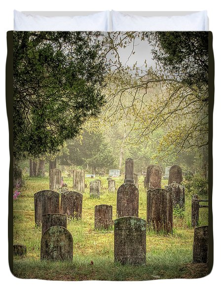 Duvet Cover featuring the photograph Cemetery In The Pines by Kristia Adams