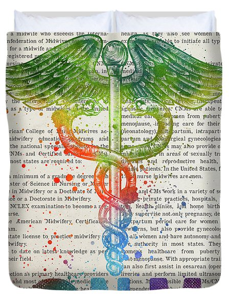 Certified Nurse Midwife Gift Idea With Caduceus Illustration 03 Duvet Cover