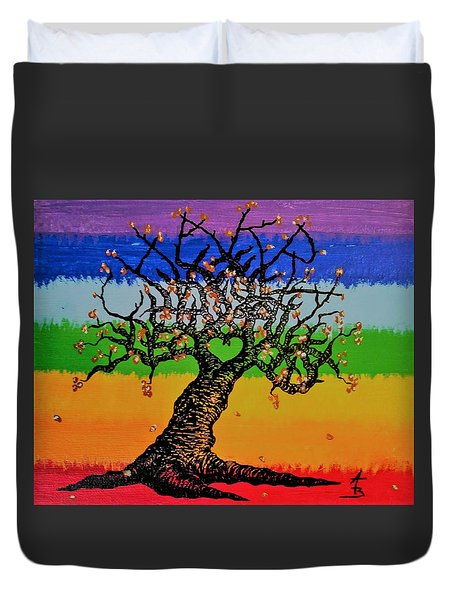 Duvet Cover featuring the drawing Chakra Love Tree by Aaron Bombalicki