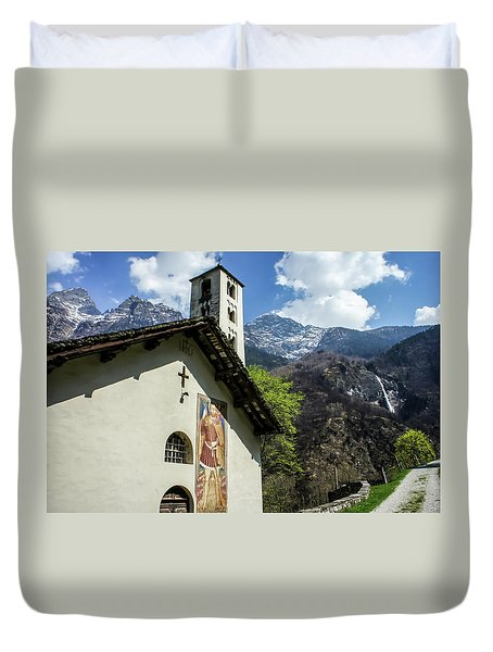 Duvet Cover featuring the photograph Chapel Of Santa Maria Of Castello, Mesocco, Switzerland by Dawn Richards