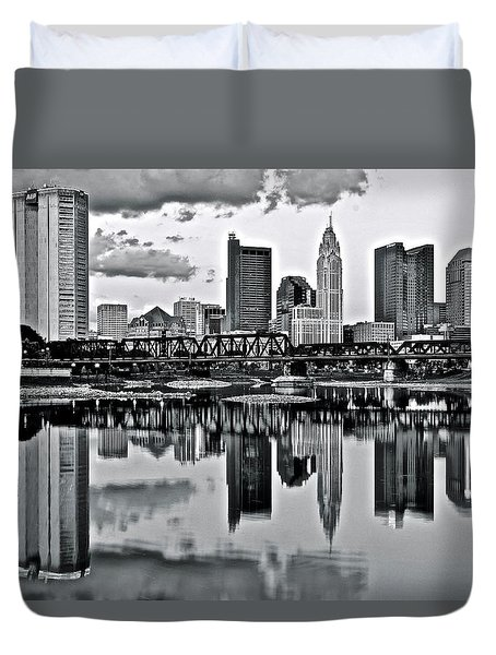 Charcoal Columbus Mirror Image Duvet Cover