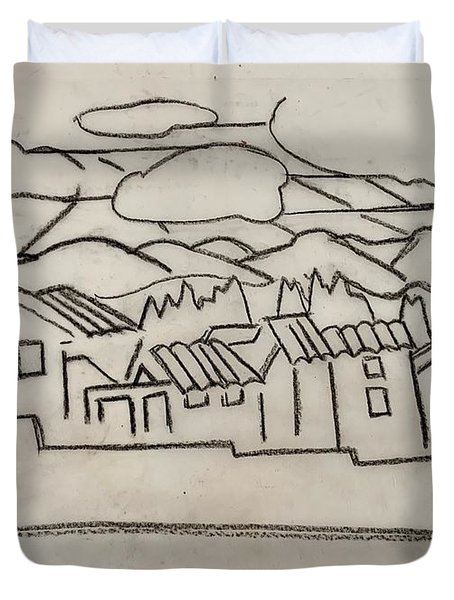 Charcoal Houses Sketch Duvet Cover