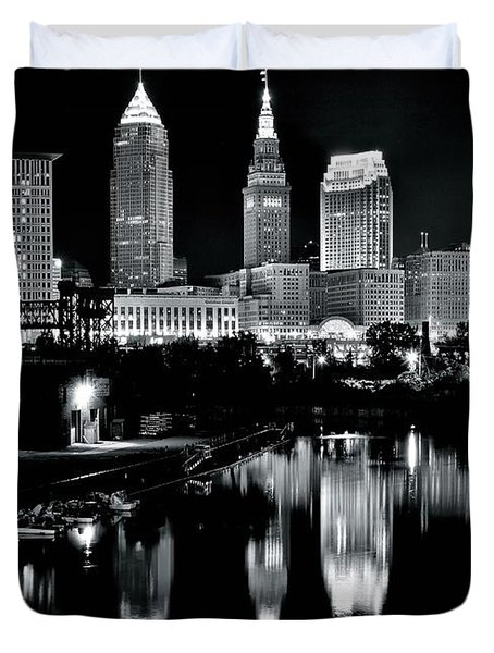 Charcoal Night View Of Cleveland Duvet Cover
