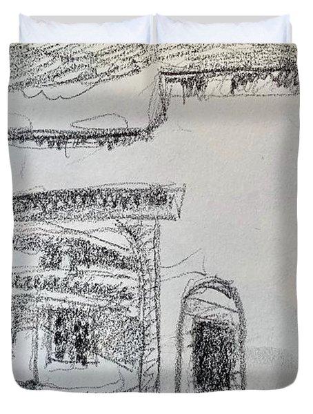 Charcoal Pencil Arch.jpg Duvet Cover
