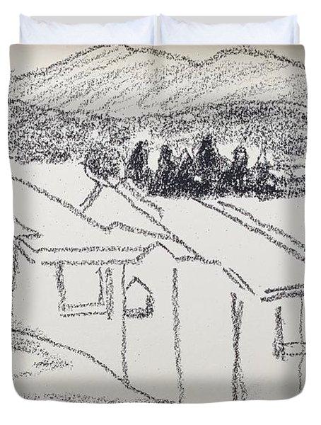 Charcoal Pencil Houses1.jpg Duvet Cover