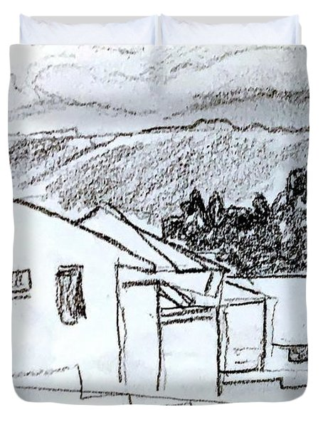 Charcoal Pencil Houses.jpg Duvet Cover