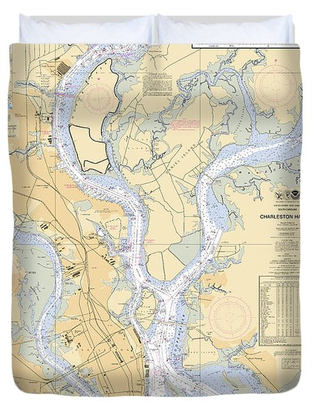 Charleston Harbor, Noaa Chart 11524 Duvet Cover