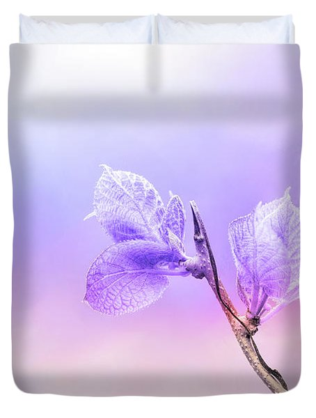Charming Baby Leaves In Purple Duvet Cover