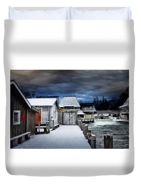 Charming Fishtown Michigan Duvet Cover