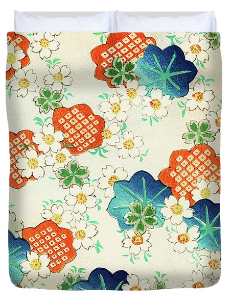 Cherry Blossoms And  Fallen Leaf- Japanese Traditional Pattern Design Duvet Cover