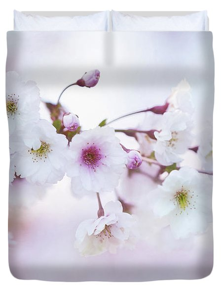 Cherry Blossoms In Pastel Pink Duvet Cover