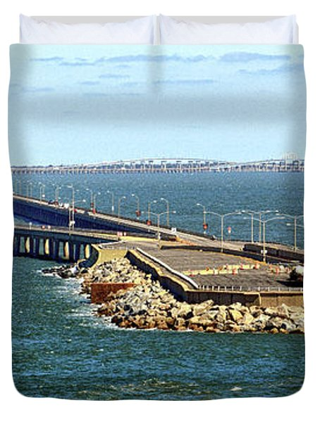 Duvet Cover featuring the photograph Chesapeake Bay Bridge Tunnel E S V A by Bill Swartwout Fine Art Photography