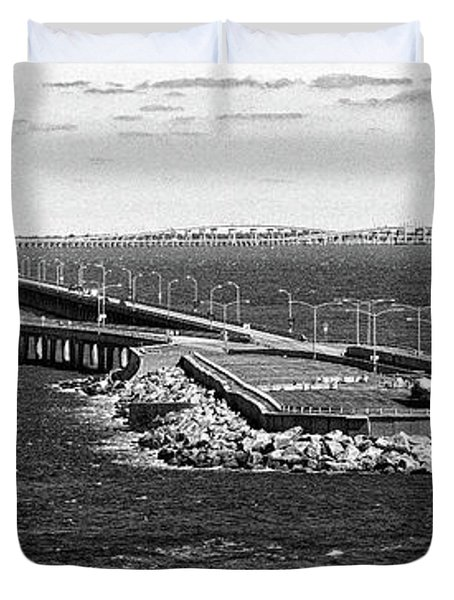 Duvet Cover featuring the photograph Chesapeake Bay Bridge Tunnel E S V A Black And White by Bill Swartwout Fine Art Photography