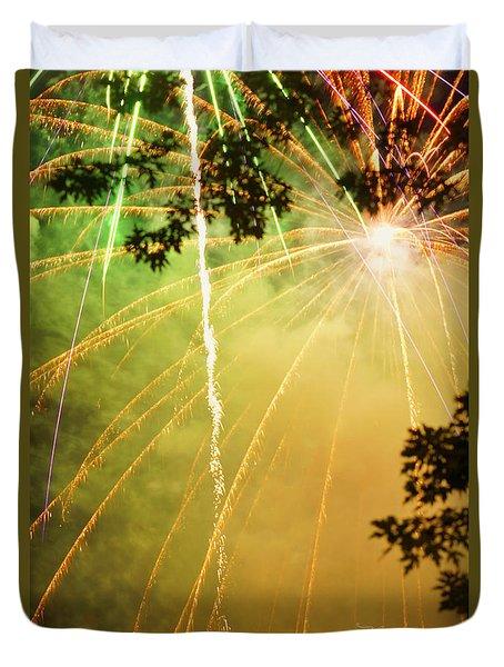 Yellow Fireworks Duvet Cover