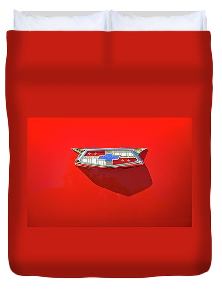 Chevrolet Emblem On A 55 Chevy Trunk Duvet Cover