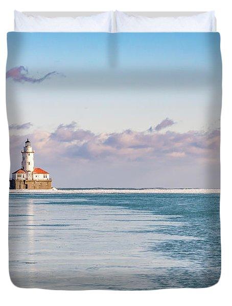 Chicago Harbor Light Landscape Duvet Cover