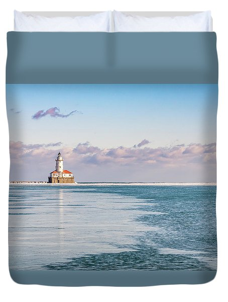 Chicago Harbor Light Landscape Duvet Cover