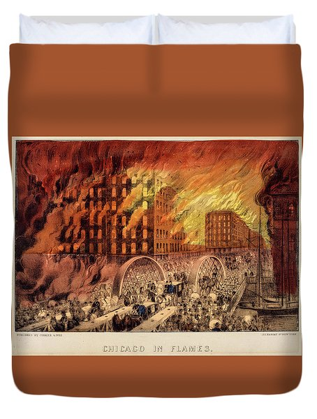 Chicago In Flames, 1871 Duvet Cover