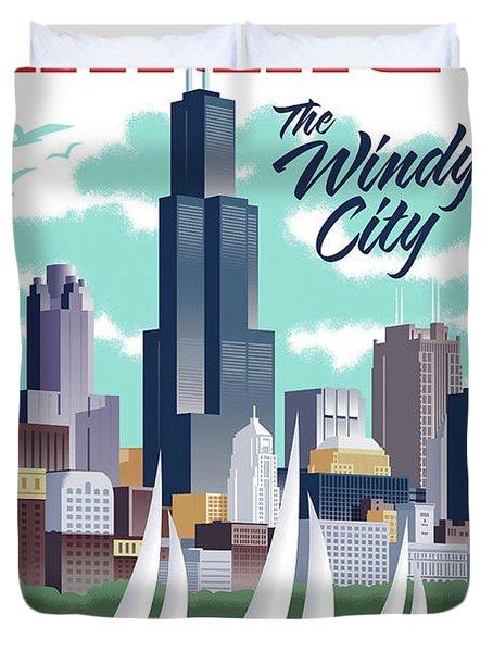 Chicago Poster - Vintage Travel Duvet Cover