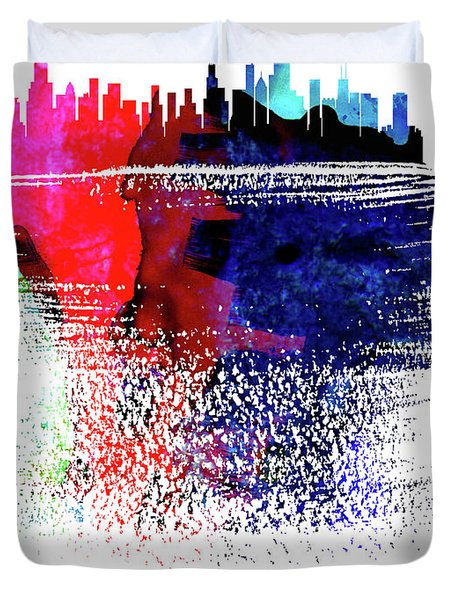 Chicago Skyline Brush Stroke Watercolor  Duvet Cover