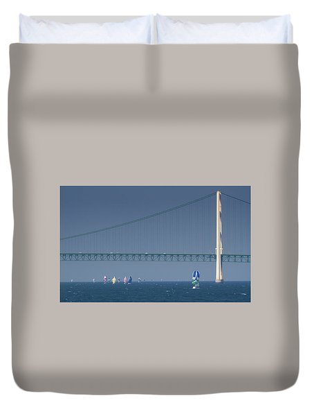 Chicago To Mackinac Yacht Race Sailboats With Mackinac Bridge Duvet Cover